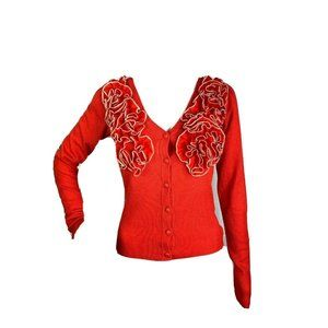 Ryu Anthro Knit Cardigan Sweater S Orange Ruffled